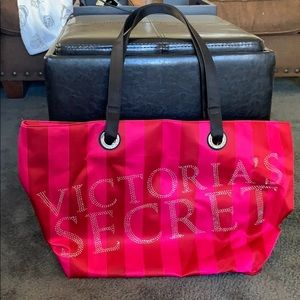 VICTORIAS SECRET pink stripped tote
